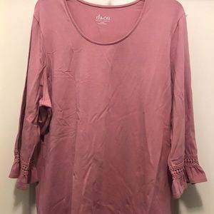 3/4 bell sleeve top. Antique rose